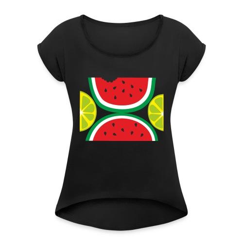 verano - Camiseta con manga enrollada mujer