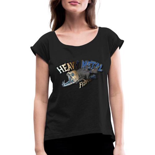 Predator fishing - Frauen T-Shirt mit gerollten Ärmeln