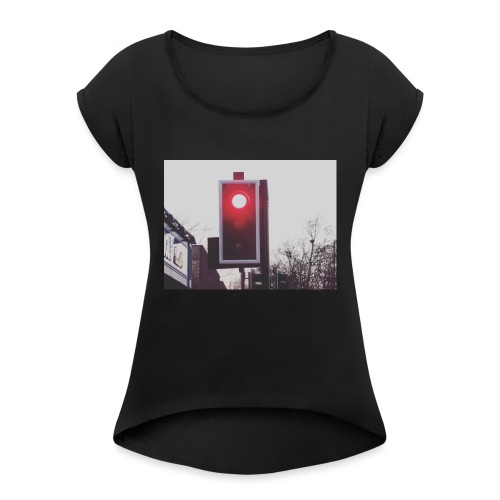 Red Traffic Light - Women's T-Shirt with rolled up sleeves