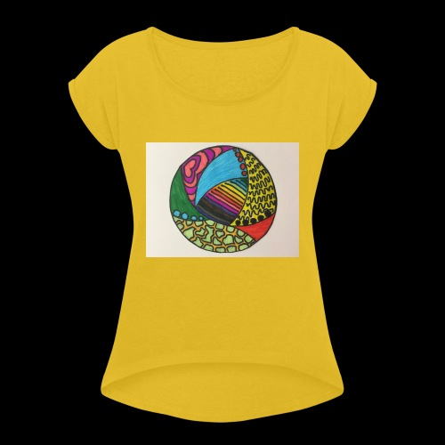 circle corlor - Dame T-shirt med rulleærmer