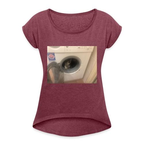 image0 - Vrouwen T-shirt met opgerolde mouwen