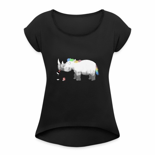 Rhinicorn - Women's T-Shirt with rolled up sleeves