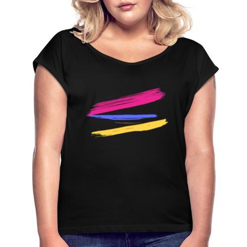 Manchas de Color de Artista - Camiseta con manga enrollada mujer