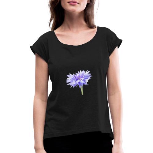 Lila Blume - Frauen T-Shirt mit gerollten Ärmeln