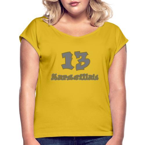 fier marseille blanc 03 - T-shirt à manches retroussées Femme