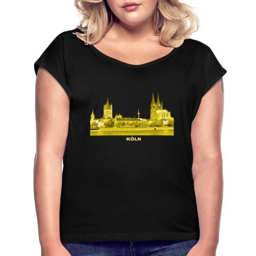 Köln Dom Rhein Nordrhein-Westfalen Deutschland - Frauen T-Shirt mit gerollten Ärmeln