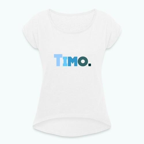 Timo in blauwe tinten - Vrouwen T-shirt met opgerolde mouwen
