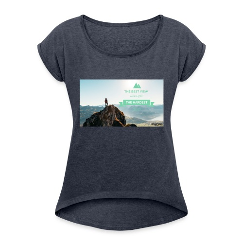 fbdjfgjf - Women's T-Shirt with rolled up sleeves