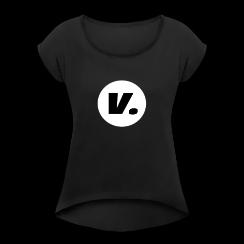 Ventura Black V Logo - Vrouwen T-shirt met opgerolde mouwen