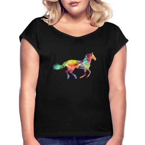 Cheval coloré - T-shirt à manches retroussées Femme