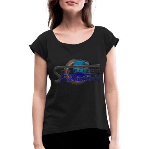 Firmenlogo der Spedition GermanTrans GmbH - Frauen T-Shirt mit gerollten Ärmeln