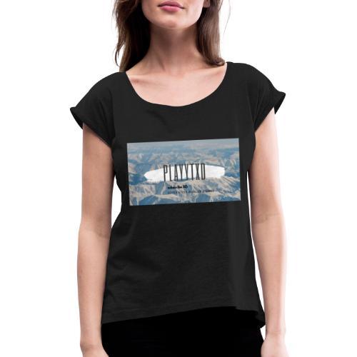 youtube logo - T-shirt med upprullade ärmar dam