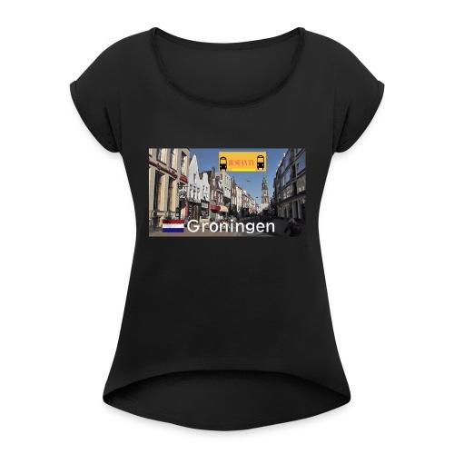 picture2 - Vrouwen T-shirt met opgerolde mouwen