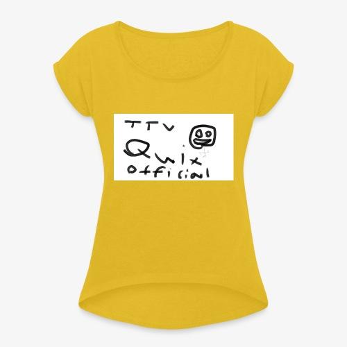 Ful teckning - T-shirt med upprullade ärmar dam
