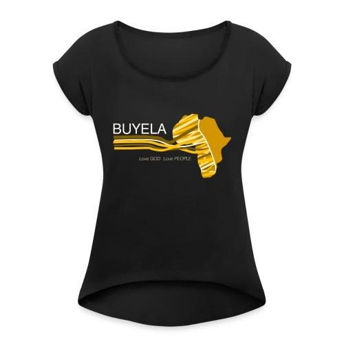 Buyela Africa loops - Frauen T-Shirt mit gerollten Ärmeln