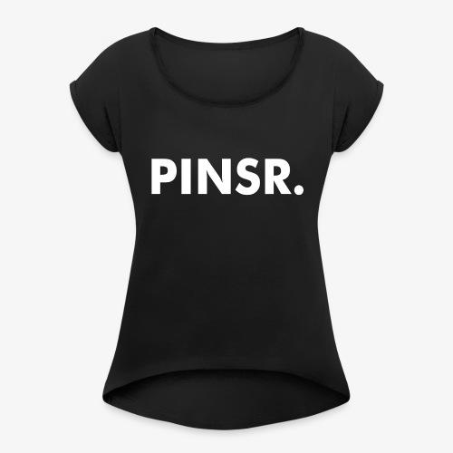 PINSR. Black - Vrouwen T-shirt met opgerolde mouwen