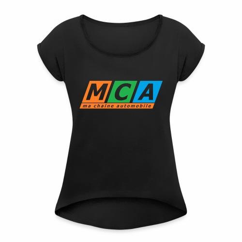 logo complet TRANSPARENT - T-shirt à manches retroussées Femme