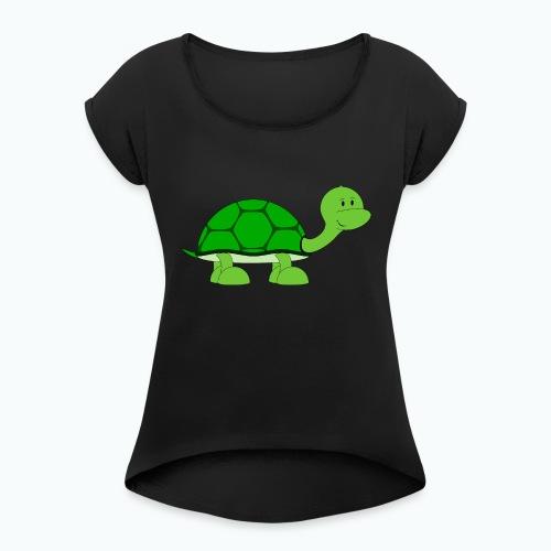 Totte Turtle - Appelsin - T-shirt med upprullade ärmar dam