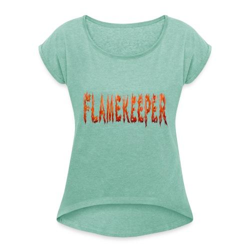 flamekeeper name logo - Vrouwen T-shirt met opgerolde mouwen