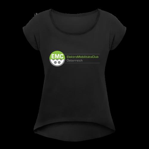 EMC Logo Hochauflösend - Frauen T-Shirt mit gerollten Ärmeln
