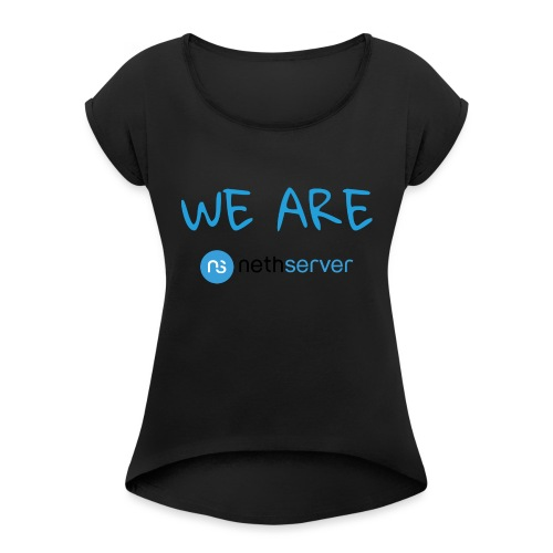 blue-black-rectangle - Women's T-Shirt with rolled up sleeves