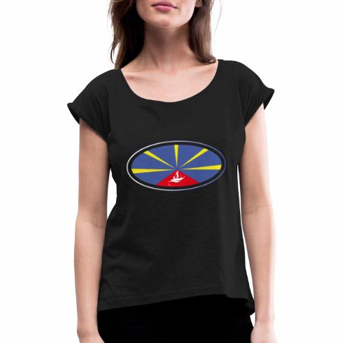 Paddle Reunion Flag - T-shirt à manches retroussées Femme