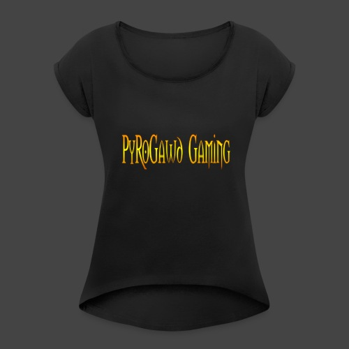 PyroGawd Logo Text - Frauen T-Shirt mit gerollten Ärmeln