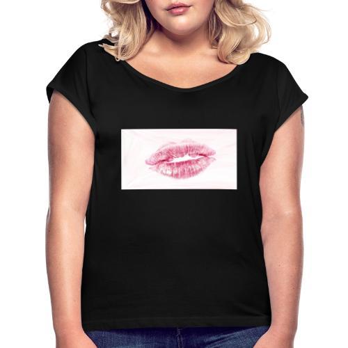 Love Liebe Heisse Liebe Kuss Lippen Heiss Gefuehle - Frauen T-Shirt mit gerollten Ärmeln