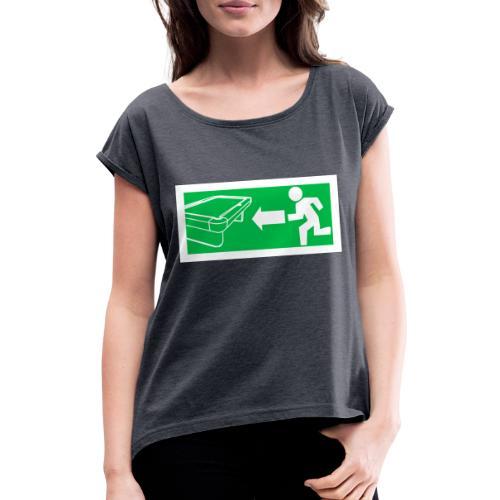 "Billard Shirt ""Notausgang Billard"" - Pool Billard - Frauen T-Shirt mit gerollten Ärmeln"