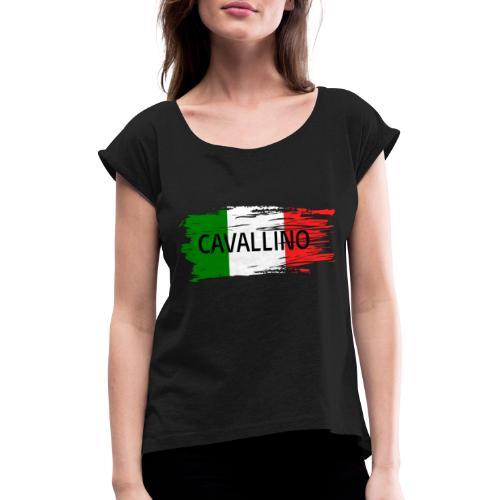 Cavallino auf Flagge - Frauen T-Shirt mit gerollten Ärmeln