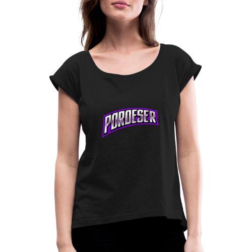 Textblock - Frauen T-Shirt mit gerollten Ärmeln
