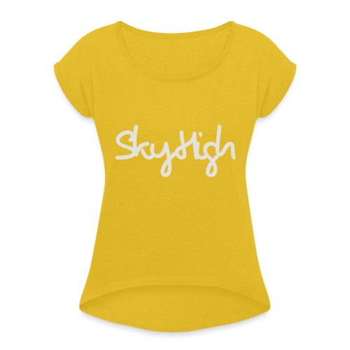 SkyHigh - Women's Premium T-Shirt - Gray Lettering - Women's T-Shirt with rolled up sleeves