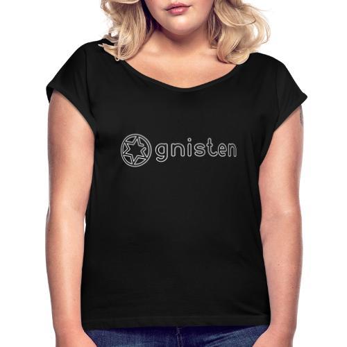 Gnisten Ry (hvidt tryk - horisontalt) - Dame T-shirt med rulleærmer