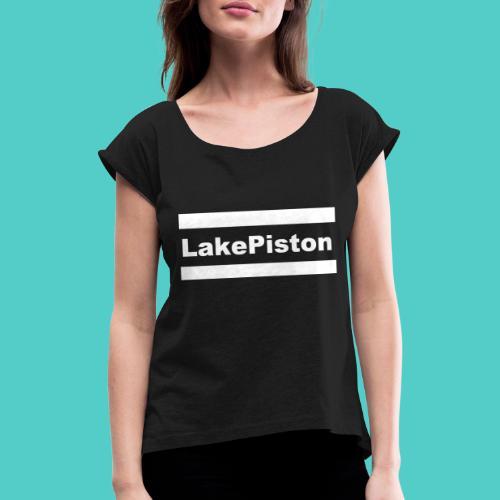 Logo V2 weiss - Frauen T-Shirt mit gerollten Ärmeln