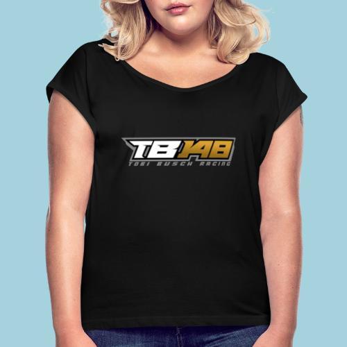 Tobi Logo Grau - Frauen T-Shirt mit gerollten Ärmeln