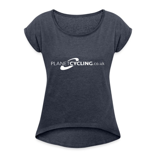 Planet Cycling Web Logo - Women's T-Shirt with rolled up sleeves