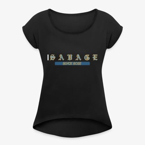 SAVGE1 - Koszulka damska z lekko podwiniętymi rękawami
