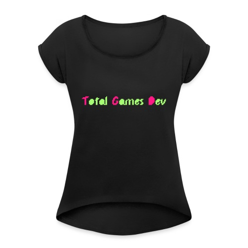 TotalGamesDev Text Logo - Women's T-Shirt with rolled up sleeves