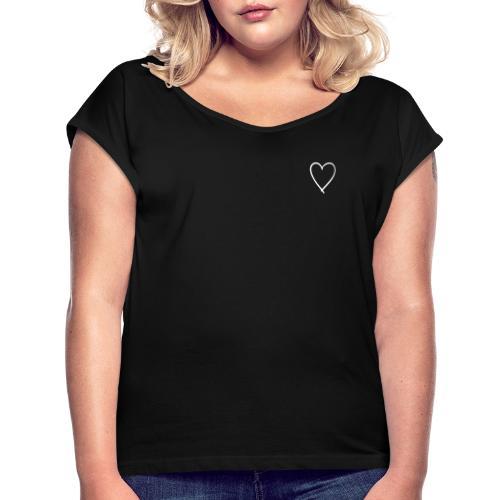 Kleines Herz - Frauen T-Shirt mit gerollten Ärmeln