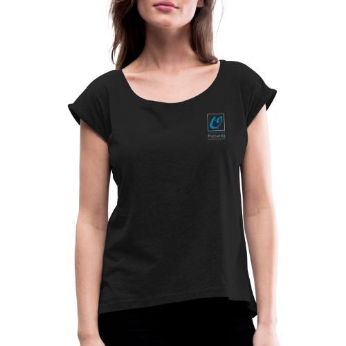 Little Owl Pictures Logo (weiß/blau) - Frauen T-Shirt mit gerollten Ärmeln