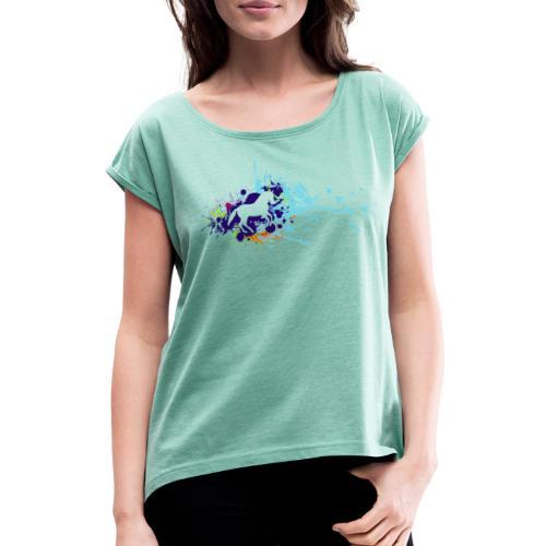 Galopp Klecks - Frauen T-Shirt mit gerollten Ärmeln