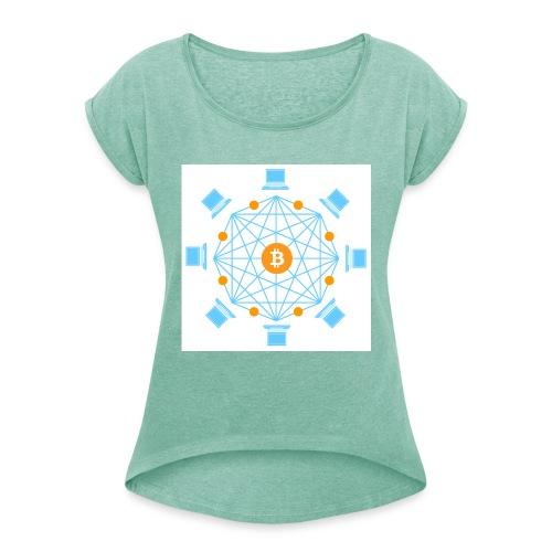 Blockchain - Naisten T-paita, jossa rullatut hihat