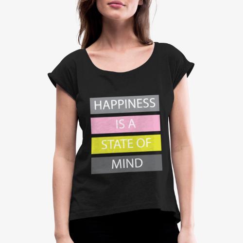 Happiness - Maglietta da donna con risvolti