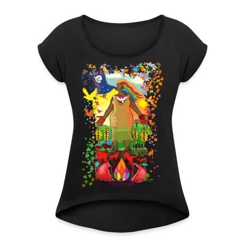 Mother Earth Creating - Vrouwen T-shirt met opgerolde mouwen