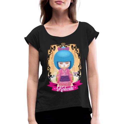 Kokeshi mod.1 - Frauen T-Shirt mit gerollten Ärmeln