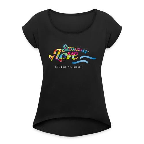 Tanzen_Shirtmotiv_bunt_2 - Frauen T-Shirt mit gerollten Ärmeln