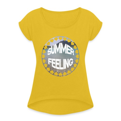 LIMITED SUMMER FEELING Schriftzug - Frauen T-Shirt mit gerollten Ärmeln