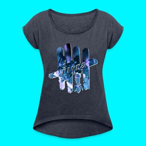 FIVES space flowers - T-shirt à manches retroussées Femme