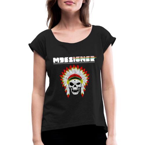 calavera o craneo con penacho de plumas vampiresco - Camiseta con manga enrollada mujer