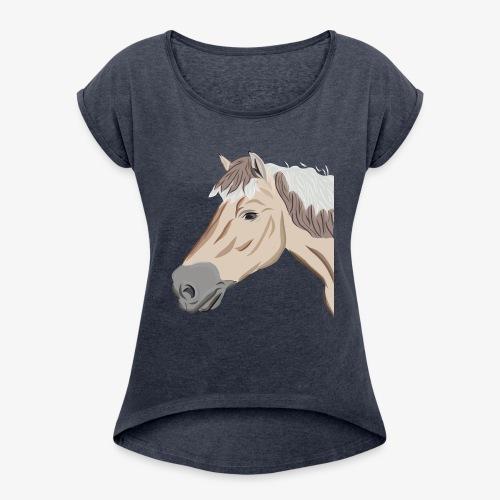Fjord Pony - Frauen T-Shirt mit gerollten Ärmeln